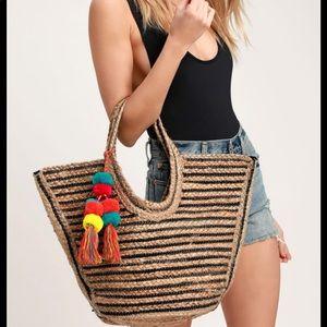 Lulu's Sun-Sational Beige & Black Striped Tote Bag